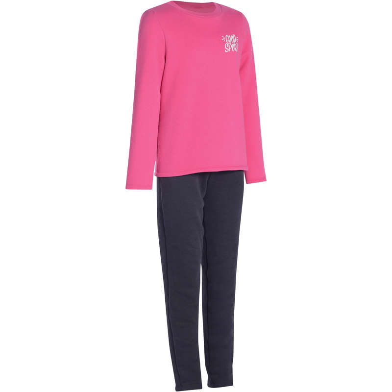 GIRL EDUCATIONAL GYM COLD WEATHER APP - 100 Gym Tracksuit - Pink Print DOMYOS