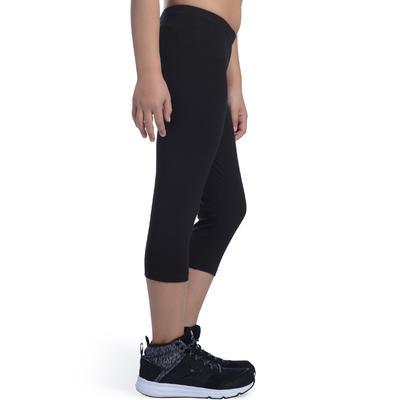 100 Girls' Gym Cropped Bottoms - Black