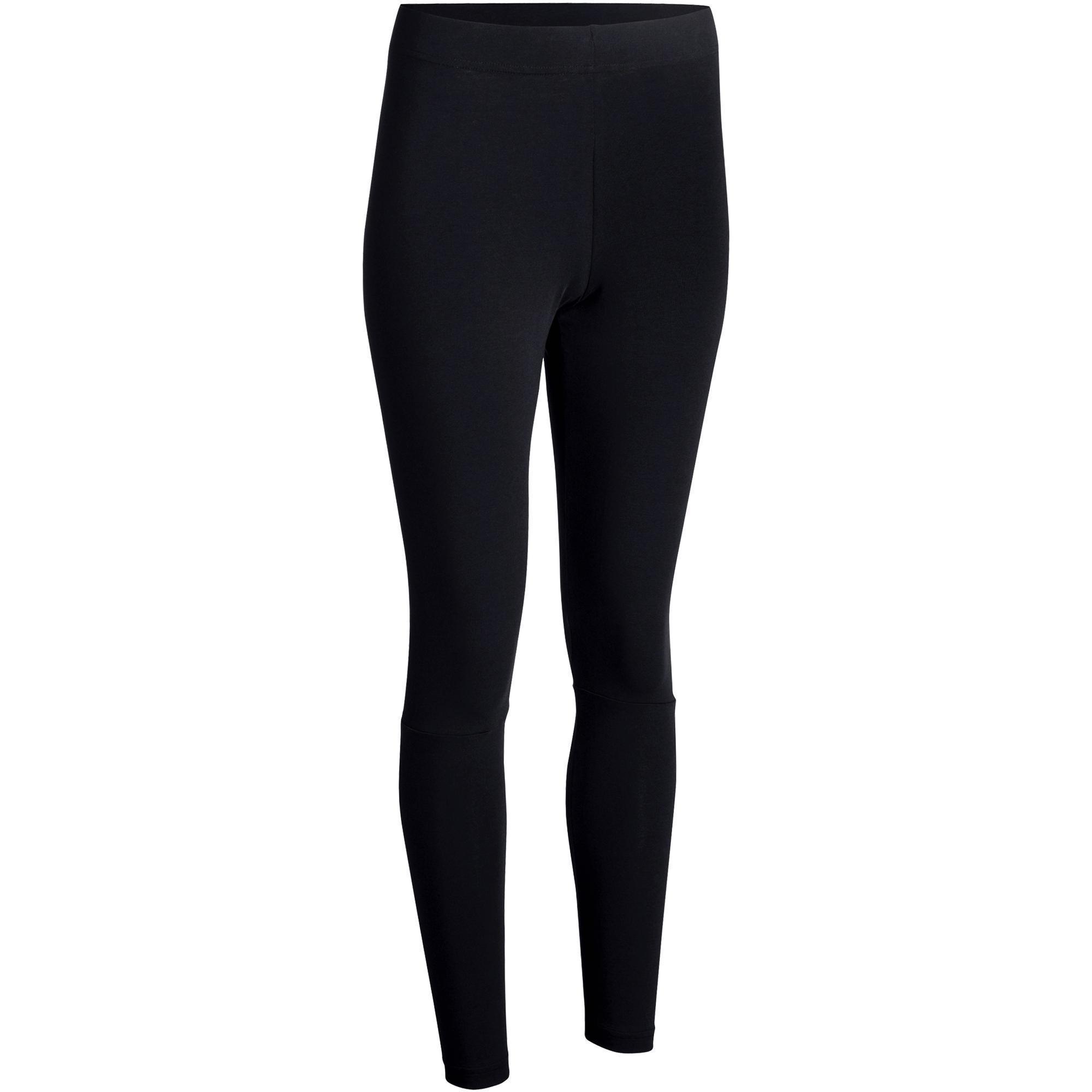 Leggings 500 Slim Gym Stretching Damen schwarz