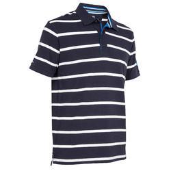 100 Adventure 男士短袖航海Polo衫 深藍條紋