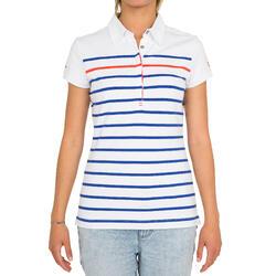Zeilpolo 100 voor dames, gestreept wit/blauw