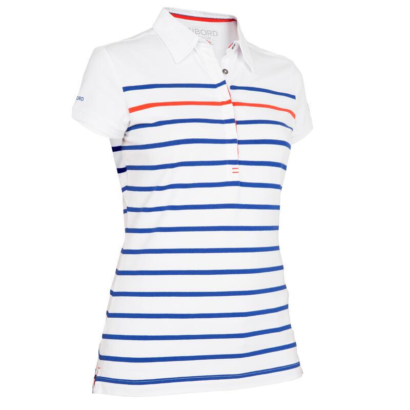 100 Women's Sailing Striped Polo Shirt - White/Blue