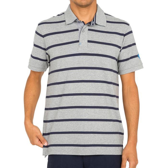 Men's 100 Adventure short-sleeved sailing polo shirt striped mottled grey