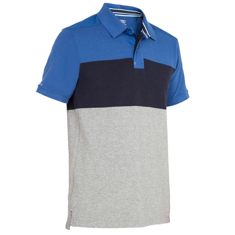 CRUISING WARM WEATHER MAN CLOTHES Sailing - M 100 Bloc SS Polo Grey blue TRIBORD - Sailing Clothing