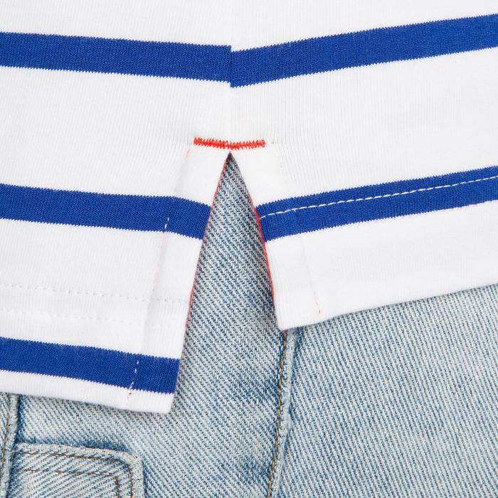 Zeilpolo 100 voor dames gestreept wit/blauw
