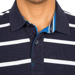 100 Adventure Men's short-sleeved sailing polo shirt striped dark blue