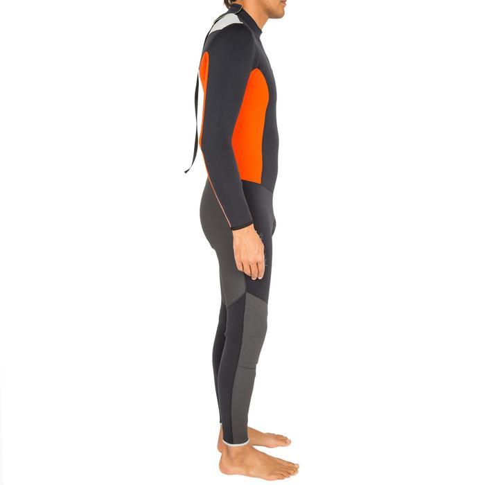 Traje de neopreno de 3/2 mm cosido/pegado vela hombre Dinghy 500 negro/naranja