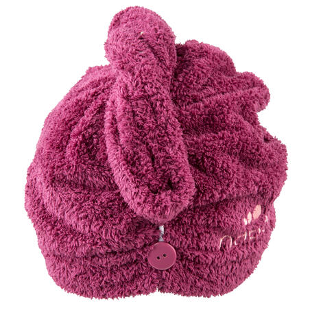 Serviette de bain microfibre douce pour cheveux bordeaux