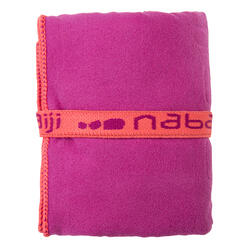 Zeer compacte microvezel handdoek cinablauw maat L 80 x 130 cm - 1092806