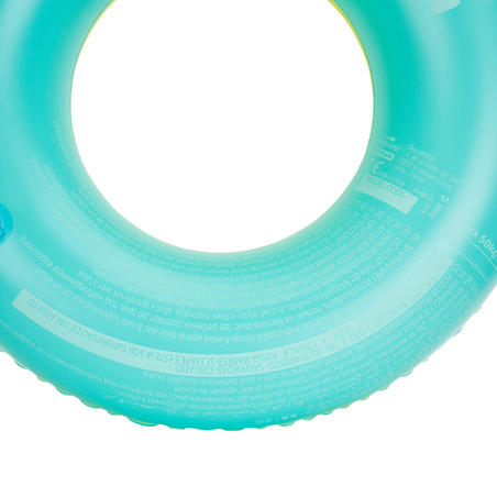 Inflatable swim ring 92 cm yellow blue large size