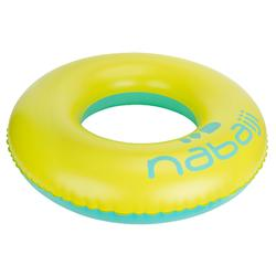 92 cm大型黃藍色充氣式泳圈,搭配快速充氣閥