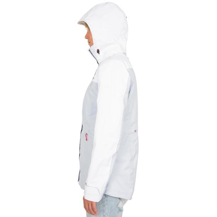 Chaqueta impermeable de vela mujer 100 blanco/gris