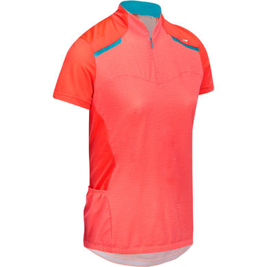 MAILLOT VELO MANCHES COURTES FEMME 500 ROSE