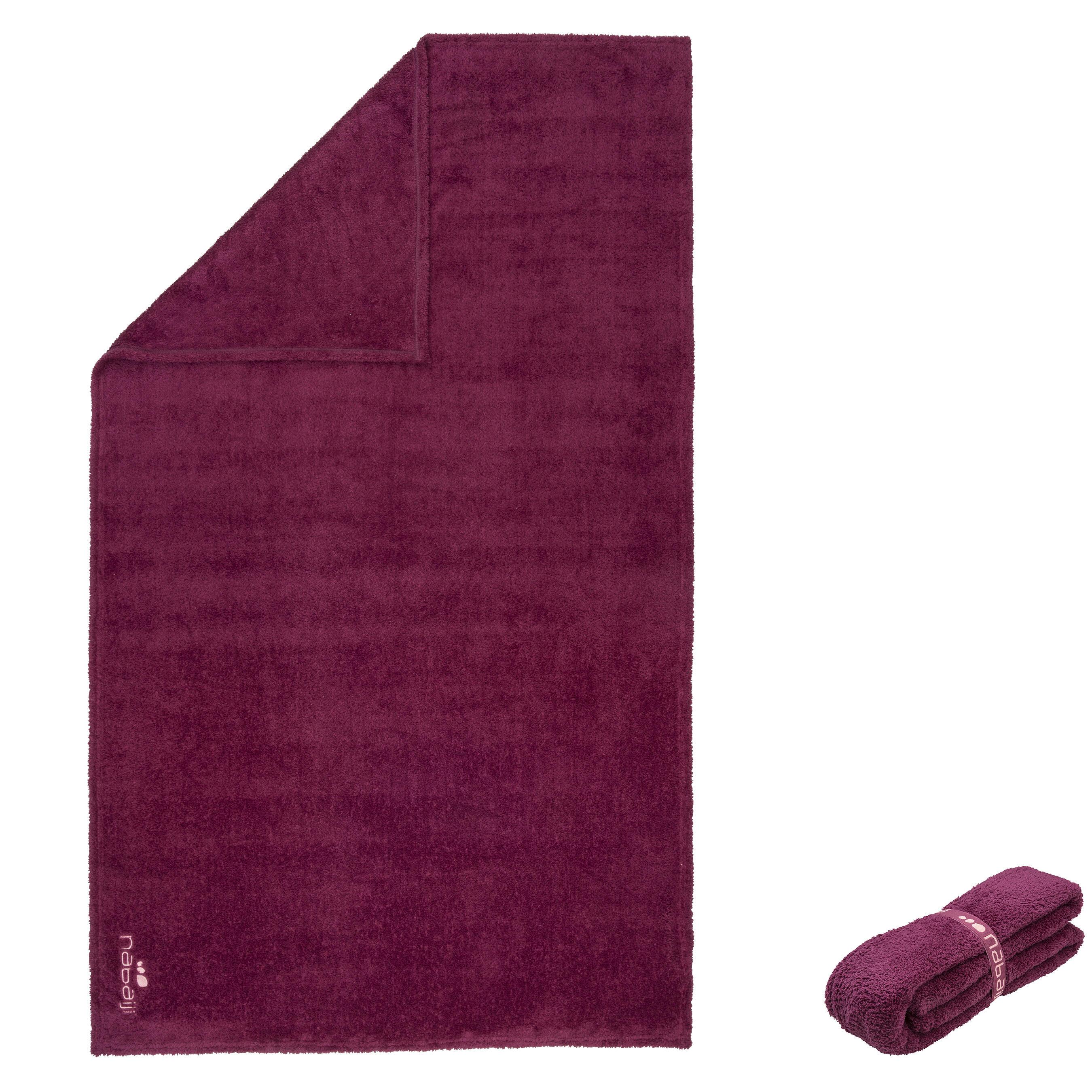 Nabaiji Zeer zachte microvezel handdoek, fluoroze, maat L, 80 x 130 cm