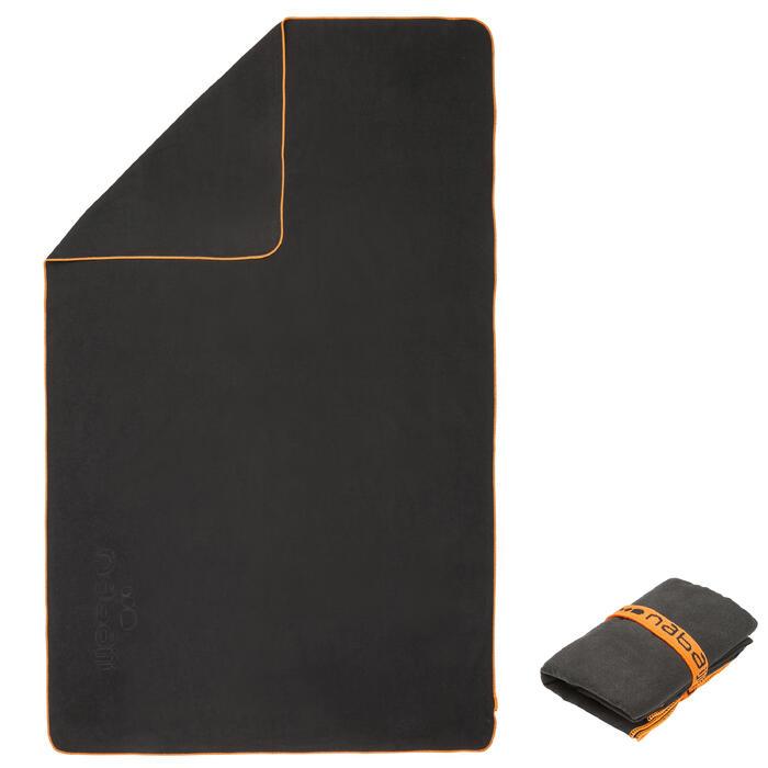 Serviette microfibre gris foncé ultra compacte taille XL 110 x 175 cm