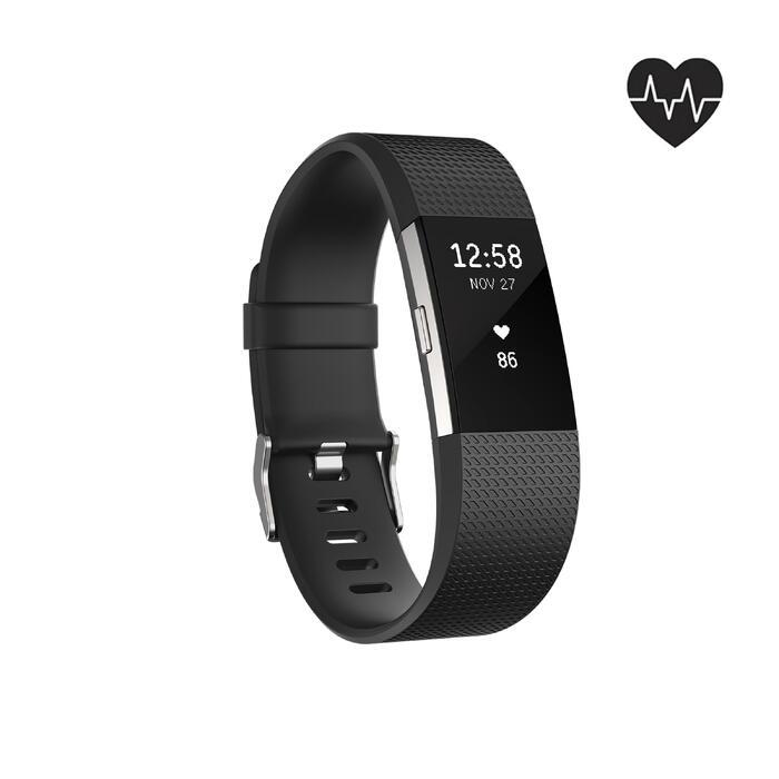 Activity tracker Charge 2 met hartslagmeting aan de pols zwart (maat L)