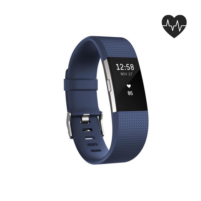 Bracelet d'activité Charge 2 cardio au poignet bleu (taille L) - 1094062