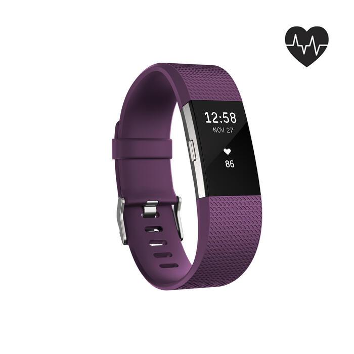 Bracelet d'activité Charge 2 cardio au poignet prune (taille S) - 1094066