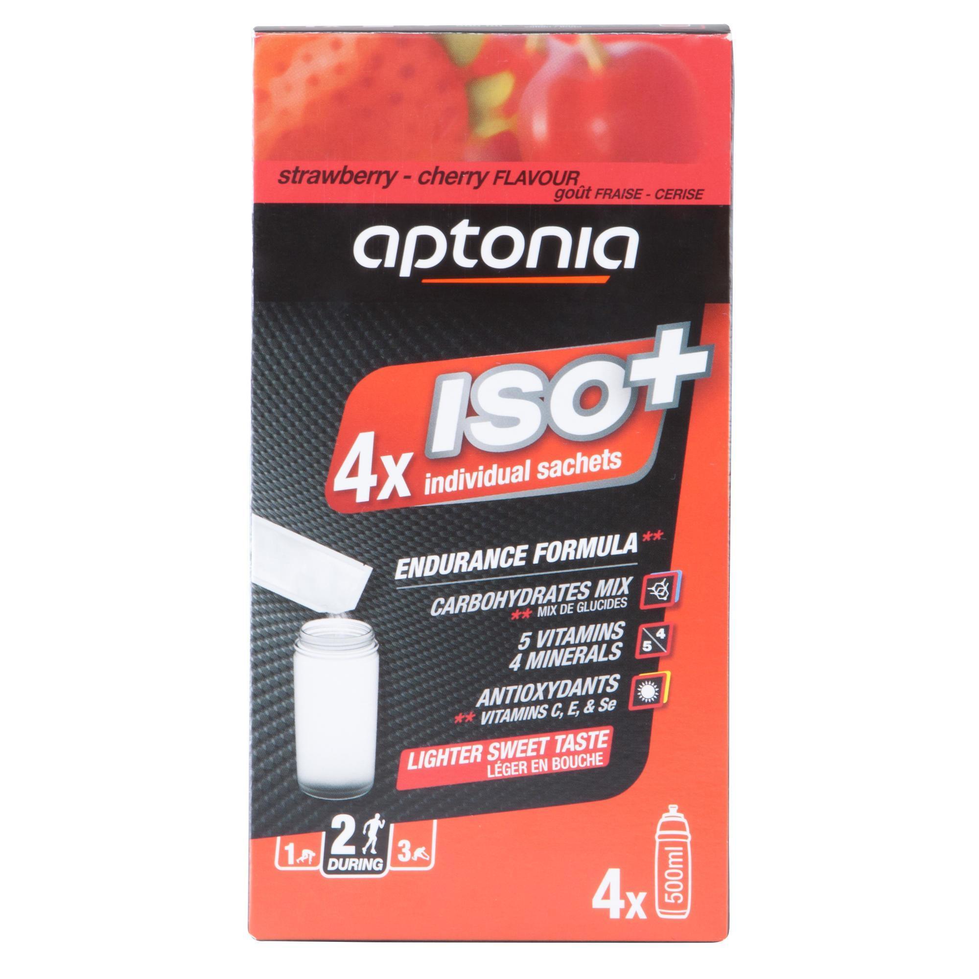 Aptonia Poeder voor isotone drank ISO+ aardbei/kers 4x 38 g