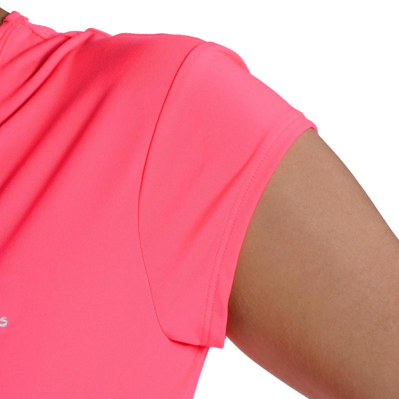 Camiseta de fitness cardio-training para mujer rosada flúor 100