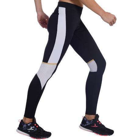 legging respirant fitness cardio femme noir et blanc energy xtrem domyos by decathlon. Black Bedroom Furniture Sets. Home Design Ideas