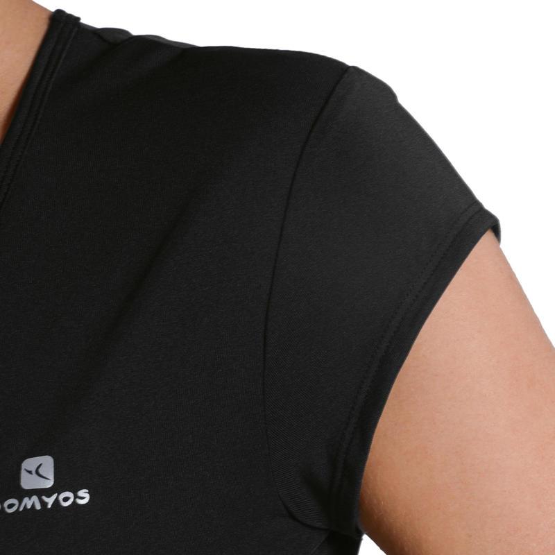 Camiseta de fitness cardio-training para mujer negra 100