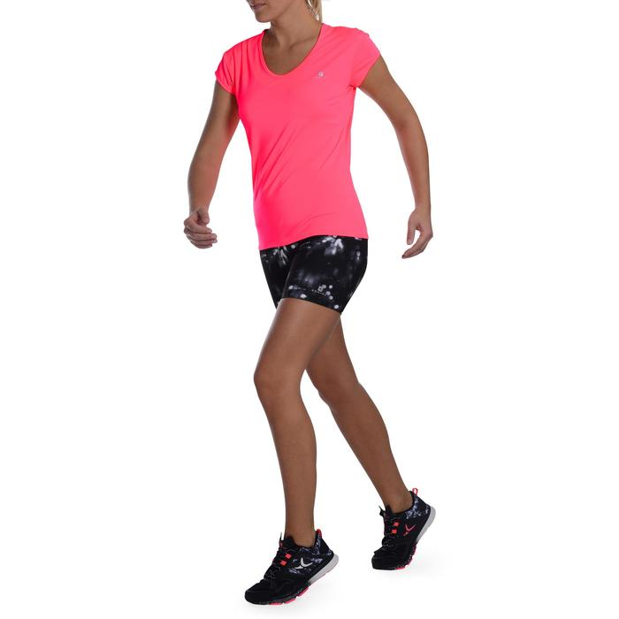 Camiseta cardio fitness mujer rosa fluo 100