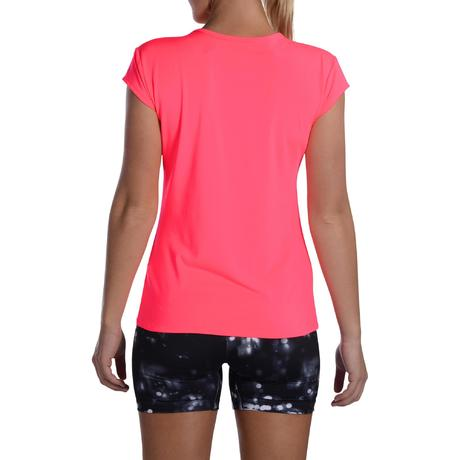 100 women 39 s cardio fitness t shirt neon pink domyos by. Black Bedroom Furniture Sets. Home Design Ideas