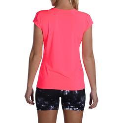 Camiseta Manga Corta Deportiva Fitness Cardio Domyos 100 Mujer Rosa Chicle Fluor