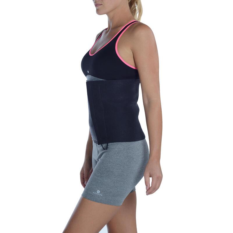 Cinturón Lumbar Faja Fitness Domyos Sudación Unisex Negro