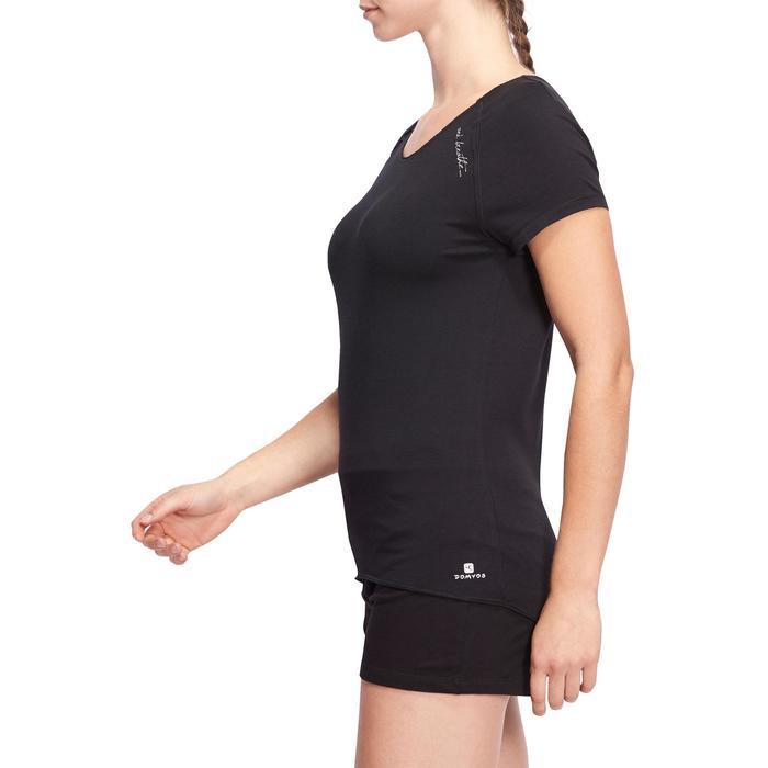 T shirt yoga doux femme en coton issu de l'agriculture biologique noir - 1094777