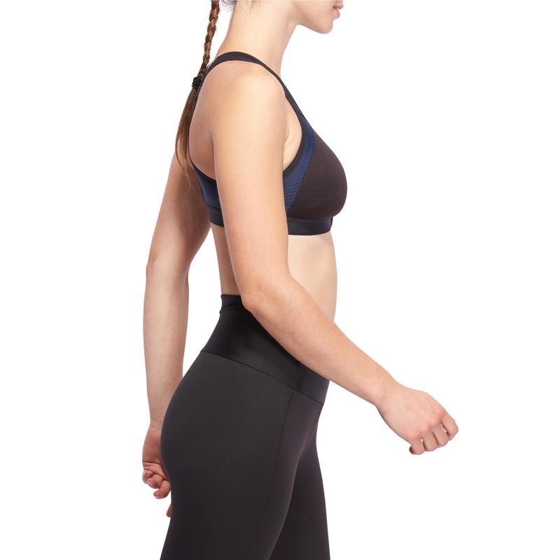 Sujetador-top power cardio fitness mujer negro 900