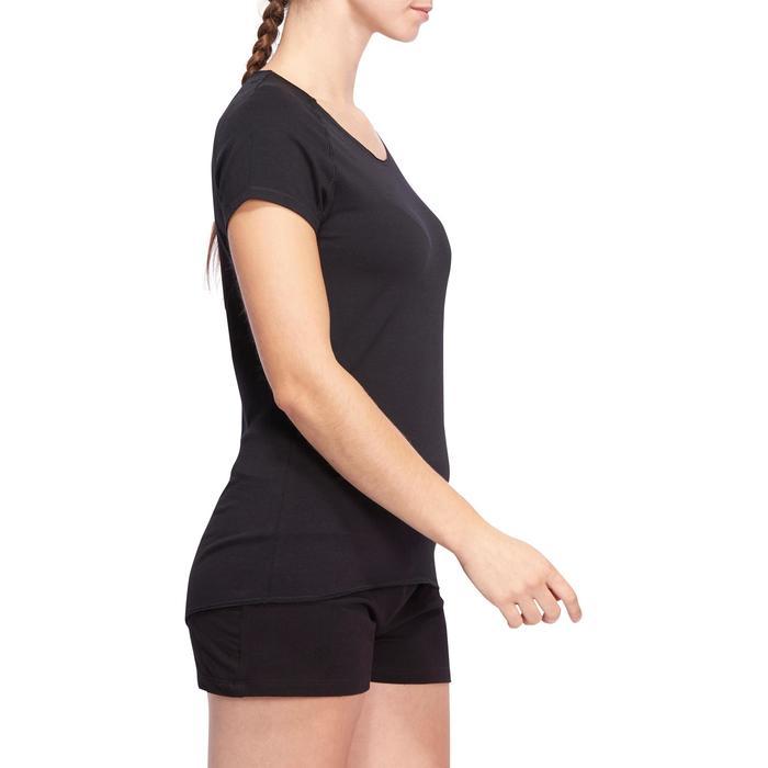 T shirt yoga doux femme en coton issu de l'agriculture biologique noir - 1094860