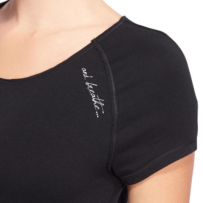 T shirt yoga doux femme en coton issu de l'agriculture biologique noir - 1094873