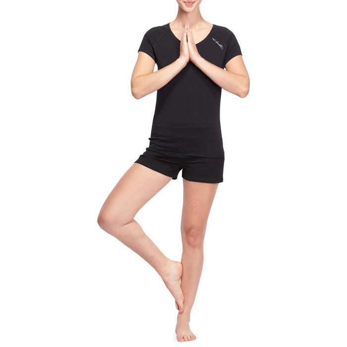 T shirt yoga doux femme en coton issu de l'agriculture biologique noir - 1094899
