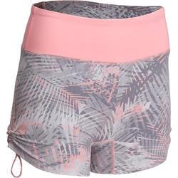 Short Yoga+ voor dames palm grijs/roze