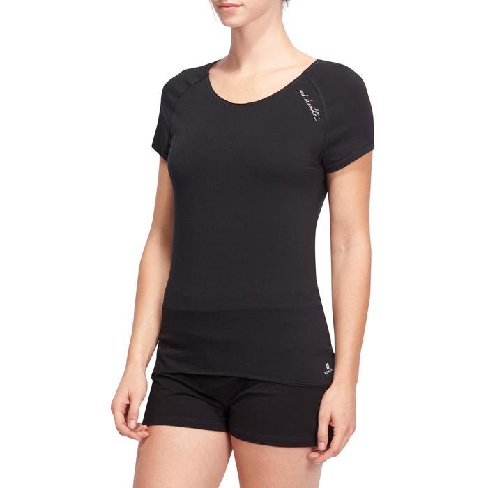 T shirt yoga doux femme en coton issu de l'agriculture biologique noir - 1095146