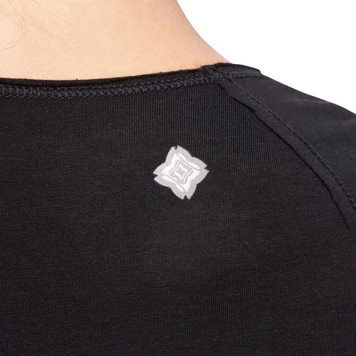 T shirt yoga doux femme en coton issu de l'agriculture biologique noir - 1095154