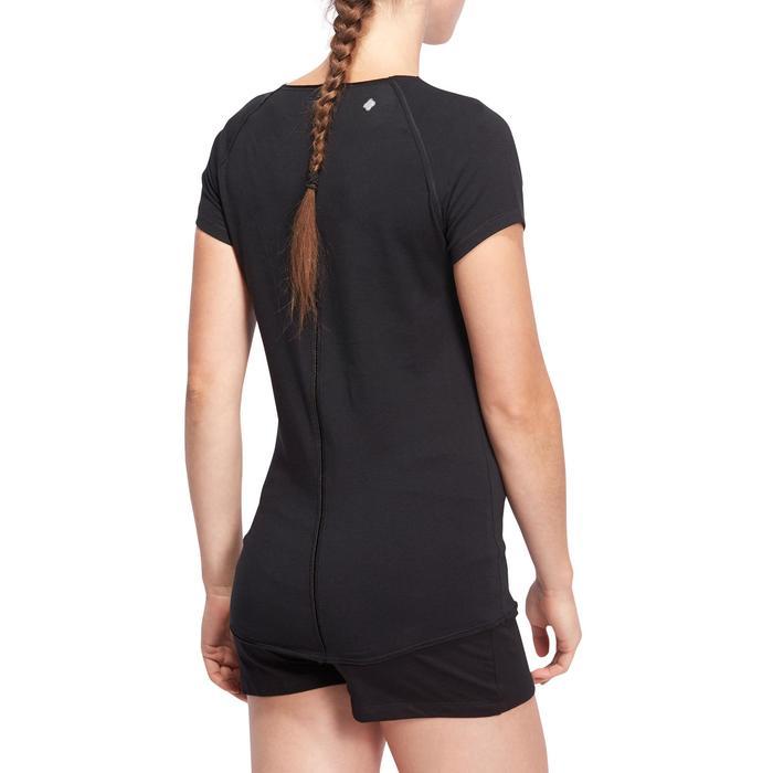 T shirt yoga doux femme en coton issu de l'agriculture biologique noir - 1095177