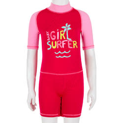 Baby Short Sleeve UV Protection Surfing Shorty T-Shirt - Pink