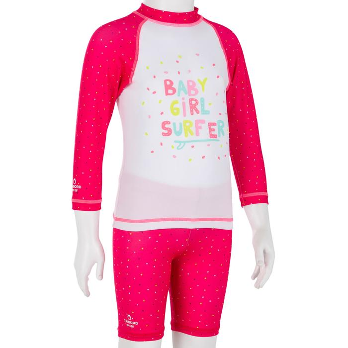 Camiseta anti-UV bebé surf manga larga blanco rosa