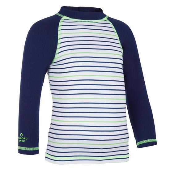 Thermisch en uv-werend shirt met lange mouwen voor peuters blauw gestreept - 1095280