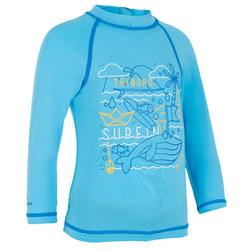 Camiseta anti-UV bebé surf manga larga azul