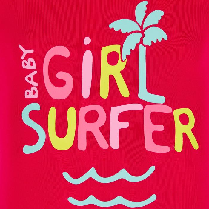 Top Camiseta Proteción Solar Playa Surf Olaian Bebé Rosa Fucsia ANTI-UV