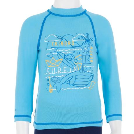 Baby long sleeve uv protection surfing t shirt blue for Uv protection t shirt