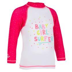 Camiseta anti-UV bebé surf manga larga blanco rosa