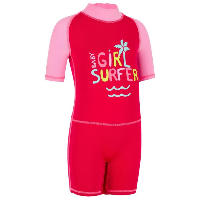 Camiseta anti-UV shorty surf manga corta bebé Rosa