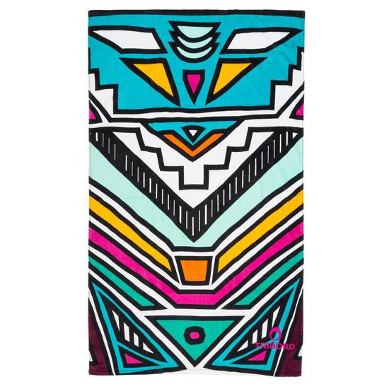 Handdoek Basic L print Rainbow Bluebird 145x85 cm - 1095381