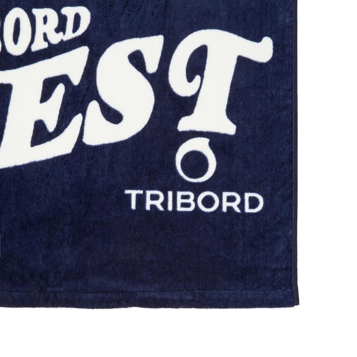 Handdoek Basic L print Surf blauw 145 x 85 cm
