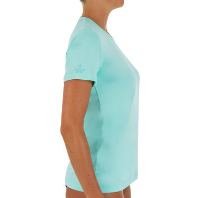 Women's Short Sleeve UV Protection Surfing Water T-Shirt - Turquoise